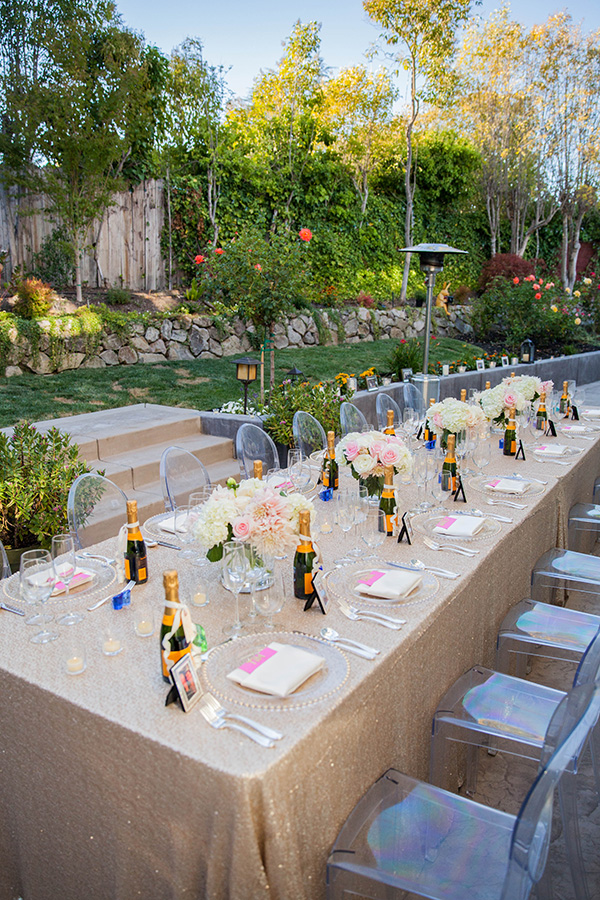 Gold Sequin Table with Champagne Bottle Favors | Rachel Capil Photography and Lindsay Lauren Events | Styling a Glam Engagement Party in your Backyard!