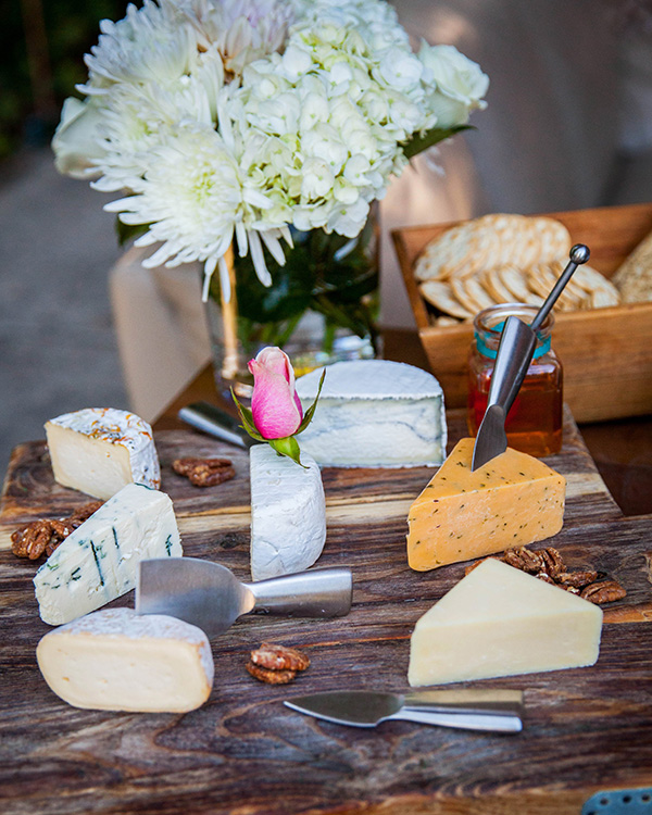 Adorable Styled Cheese Board | Rachel Capil Photography and Lindsay Lauren Events | Styling a Glam Engagement Party in your Backyard!