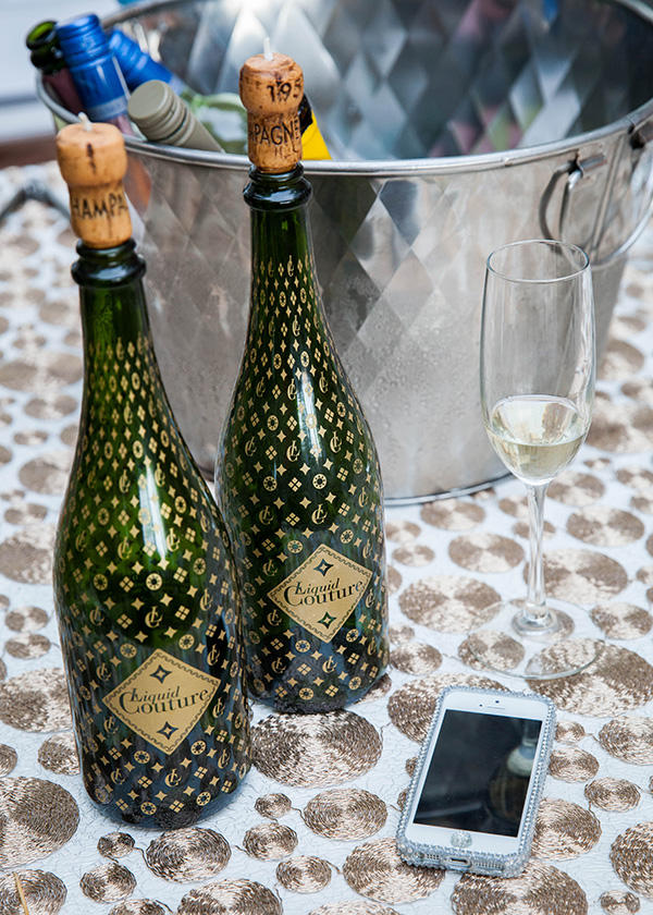 Liquid Couture Champagne Table | Rachel Capil Photography and Lindsay Lauren Events | Styling a Glam Engagement Party in your Backyard!