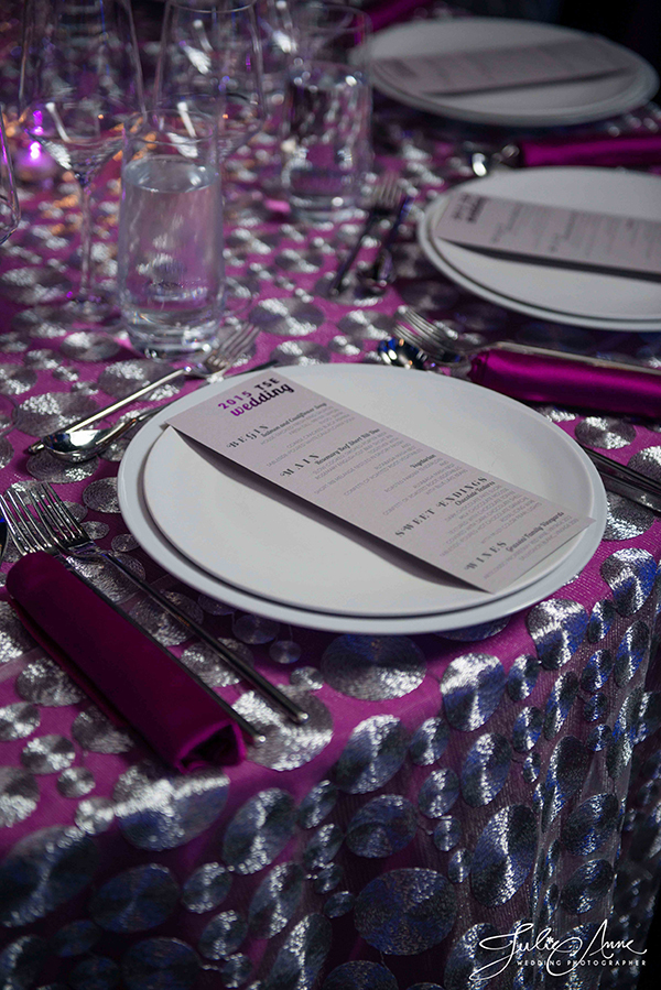 Silver and Purple Metallic Wedding | Julie Anne Photography and @nvlinens | Playing with Geometric Prints for Summer!