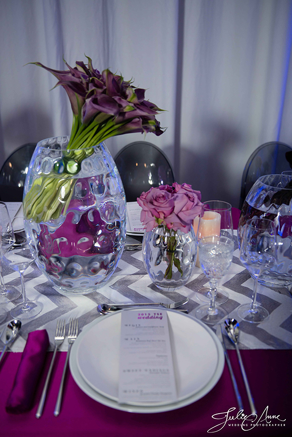 Modern Purple and Silver Table Decor with Chevron Sequins | Julie Anne Photography and @nvlinens | Playing with Geometric Prints for Summer!