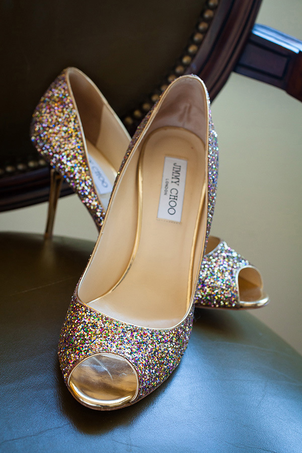 Sparkly Jimmy Choo Wedding Shoes | Colson Griffith Photography | Sophisticated Blush and Plum San Francisco Wedding
