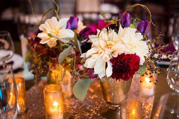 Dahlias in Mercury Glass on Blush Sequins | Colson Griffith Photography | Sophisticated Blush and Plum San Francisco Wedding