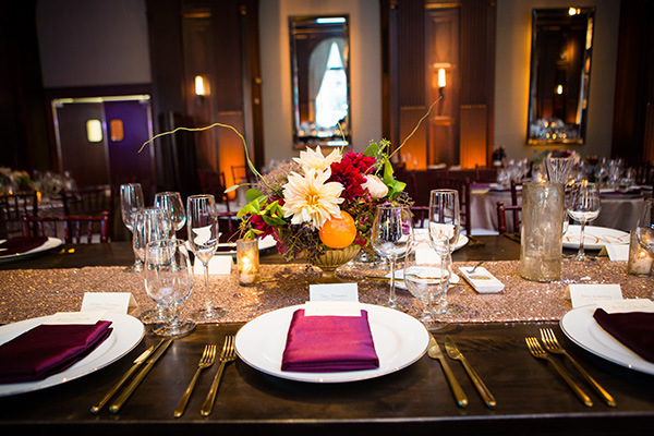 Jewel Tones and Sparkle Place Setting | Colson Griffith Photography | Sophisticated Blush and Plum San Francisco Wedding