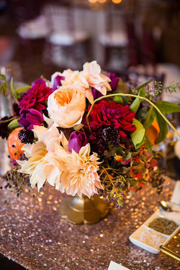 Berry and Pink Centerpiece | Colson Griffith Photography | Sophisticated Blush and Plum San Francisco Wedding