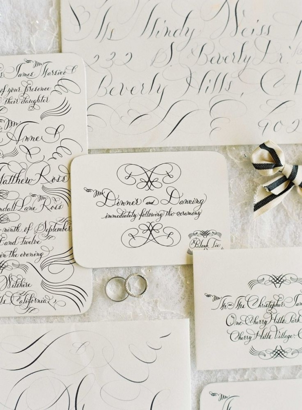 Black and White Script Invitation | Jose Villa Photography | Luxurious White and Cream Beverly Hills Wedding