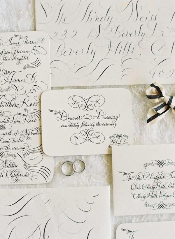 Black and White Script Invitation | Jose Villa Photography | Luxurious White and Cream Beverly Hills Wedding