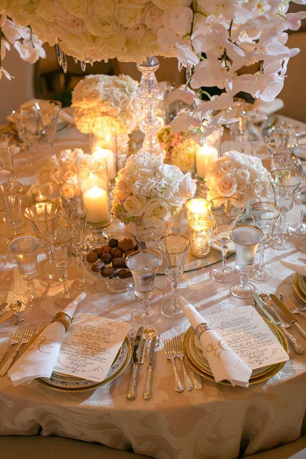 White and Gold Place Settings | Jose Villa Photography | Luxurious White and Cream Beverly Hills Wedding