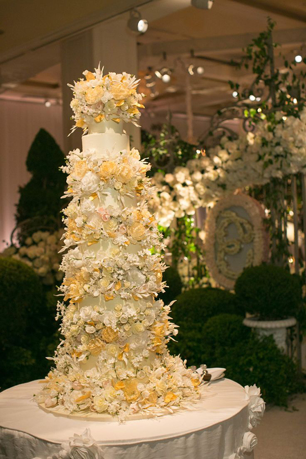 Classic Tiered Wedding Cake with Sugar Flowers | Jose Villa Photography | Luxurious White and Cream Beverly Hills Wedding