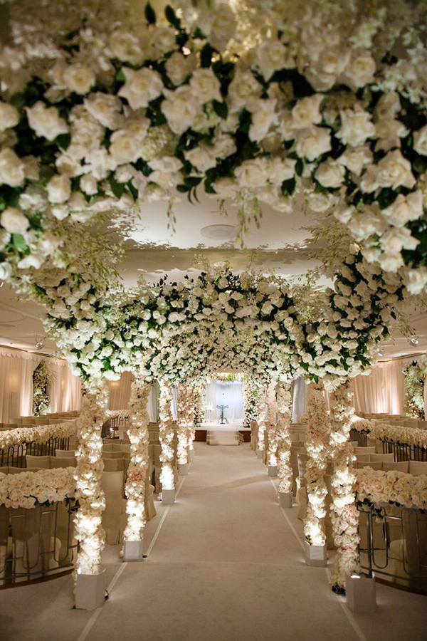 Opulent White Floral Aisle | Jose Villa Photography | Luxurious White and Cream Beverly Hills Wedding