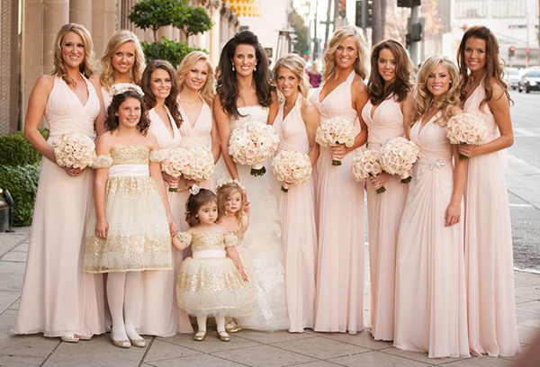 Bridesmaids in Blush Monique Lhuillier Dresses | Jay Lawrence Goldman Photography | Luxurious White and Cream Beverly Hills Wedding