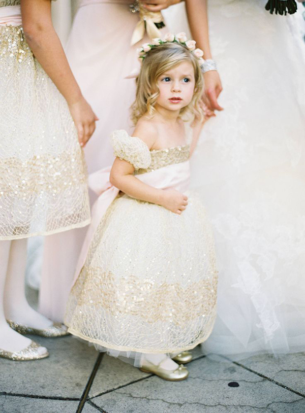 Adorable Flower Girl in White and Gold | Jose Villa Photography | Luxurious White and Cream Beverly Hills Wedding