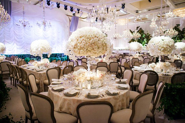 Opulent White Centerpieces on Patterned Neutral Linens | Jose Villa Photography | Luxurious White and Cream Beverly Hills Wedding
