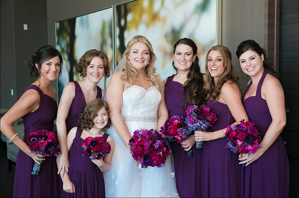 Bridesmaids in Vibrant Purple | Arrowood Photography