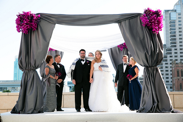 Gray Silk Chuppah | Arrowood Photography
