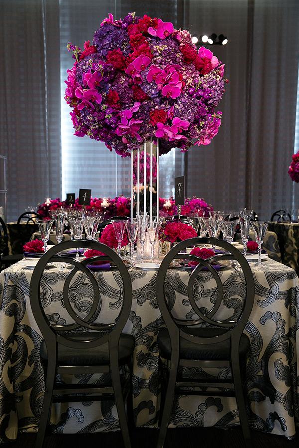Luxurious Fuchsia and Charcoal Wedding Reception | Arrowood Photography