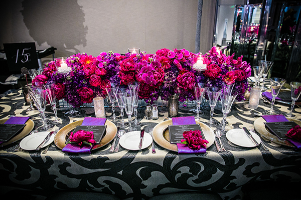 Fuchsia Peony at Each Place Setting | Arrowood Photography