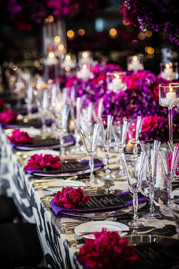 Glam Modern Wedding in Charcoal and Fuchsia | Arrowood Photography