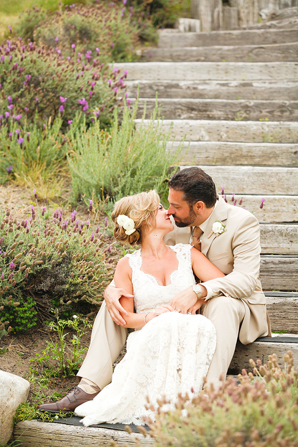 Seaside Wedding Portraits on Driftwood Stairs | Michelle Walker Photography | Elegant Neutral Carmel Valley Wedding