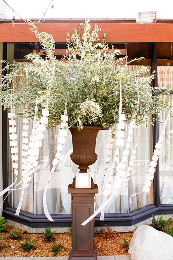 Olive Escort Card Display with Hanging Ribbons | Michelle Walker Photography | Elegant Neutral Carmel Valley Wedding