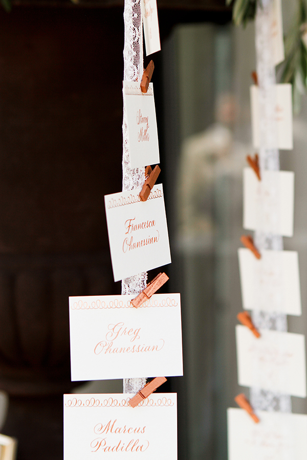 Escort Cards Hanging on Lace Ribbons | Michelle Walker Photography | Elegant Neutral Carmel Valley Wedding