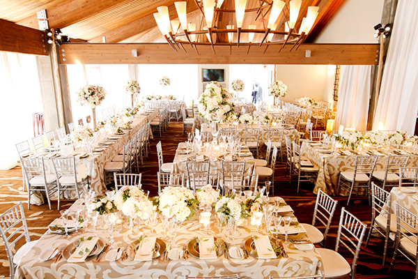 Kings Tables with Patterned Tone on Tone Linens | Michelle Walker Photography | Elegant Neutral Carmel Valley Wedding