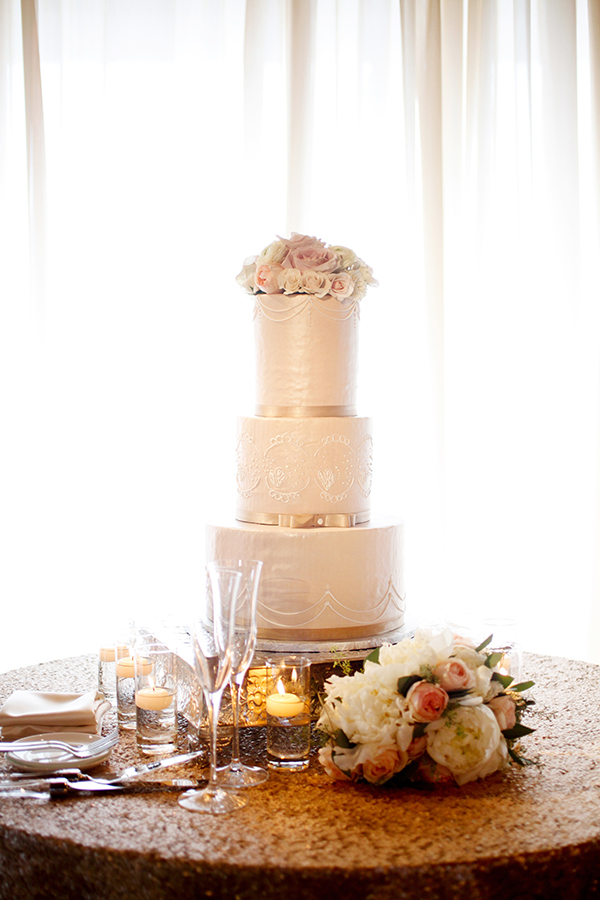 Ivory Tiered Wedding Cake | Michelle Walker Photography | Elegant Neutral Carmel Valley Wedding