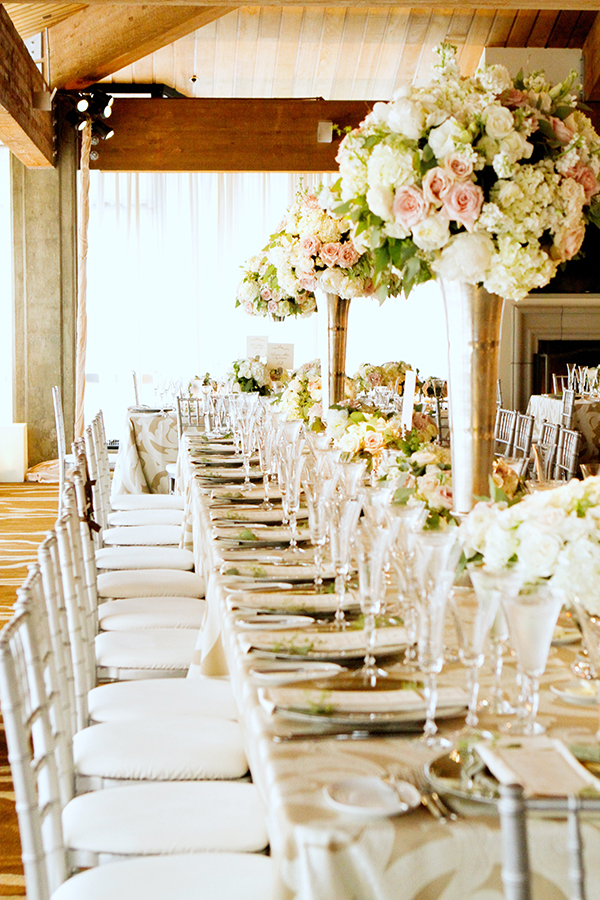 Bush and Ivory Farm Tables | Michelle Walker Photography | Elegant Neutral Carmel Valley Wedding