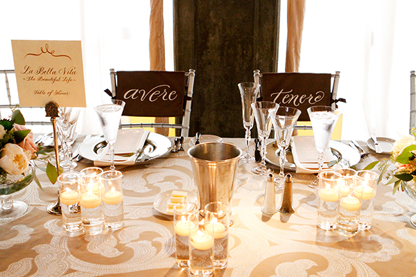 Italian To Have and To Hold Chair Signs | Michelle Walker Photography | Elegant Neutral Carmel Valley Wedding