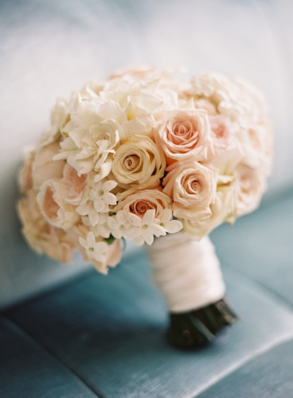 Elegant Blush and Ivory Bouquet and Silver Wedding Shoes | Jose Villa Photography | Luxurious White and Cream Beverly Hills Wedding