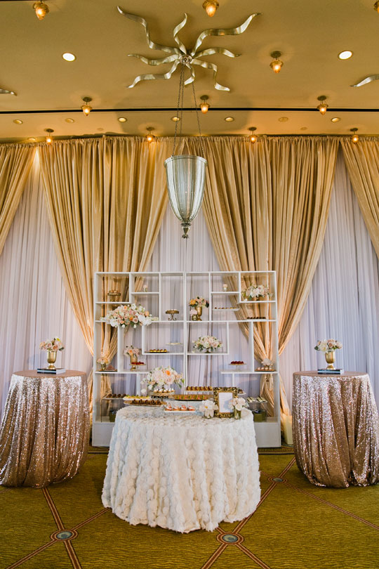 Glamorous Gold and Blush Wedding Desserts | Jasmine Lee Photography | Sequins and Rose Gold - A Decadent Dessert Display Too Pretty to Eat!