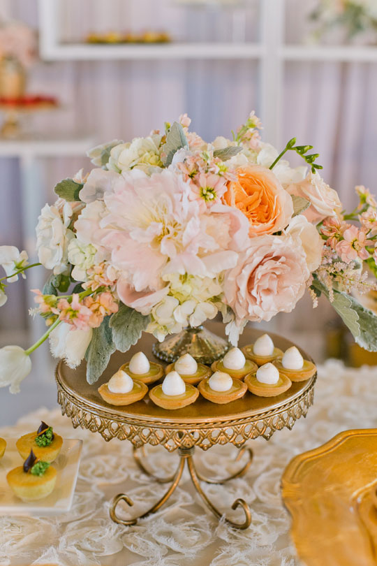 Blush Peonies and Petite Tarts | Jasmine Lee Photography | Sequins and Rose Gold - A Decadent Dessert Display Too Pretty to Eat!