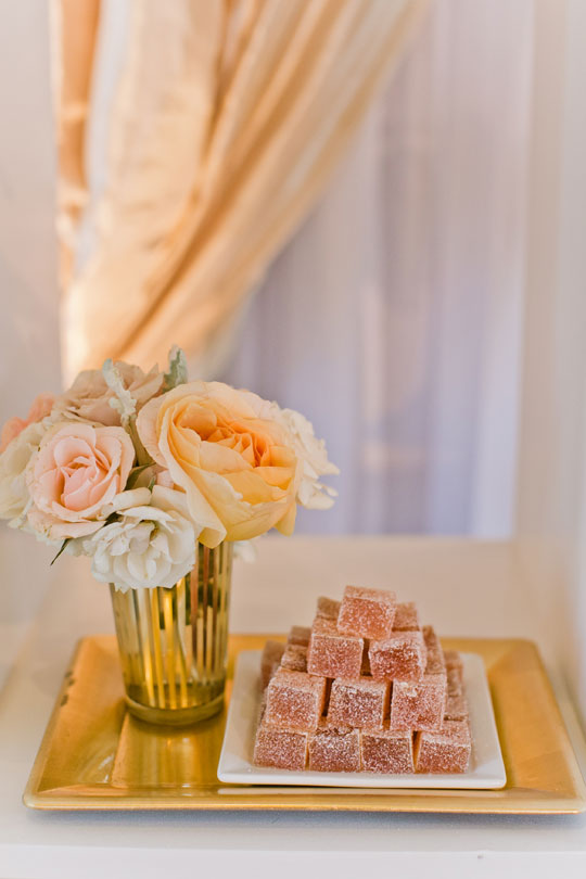 Sweet Treats and Lush Pastel Flowers | Jasmine Lee Photography | Sequins and Rose Gold - A Decadent Dessert Display Too Pretty to Eat!