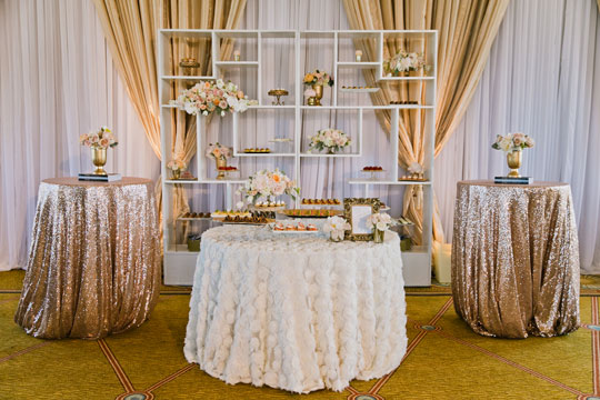 Luxe Desserts and Lush Blooms for a Regal Hotel Wedding | Jasmine Lee Photography | Sequins and Rose Gold - A Decadent Dessert Display Too Pretty to Eat!