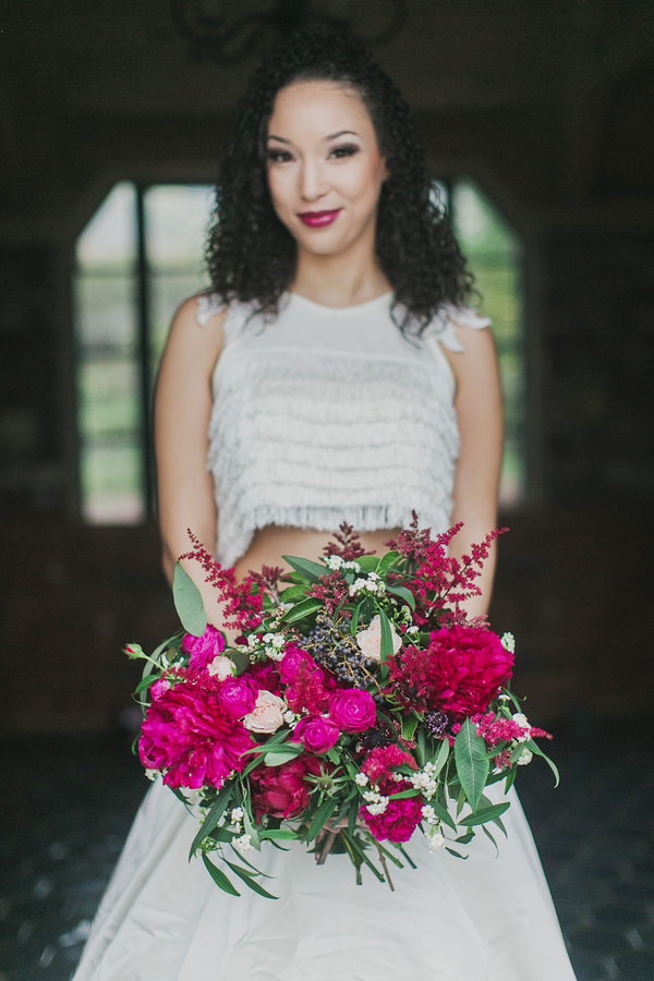 Bright Fuchsia Bouquet with a Crop Top Wedding Dress | Milou and Olin Photography | Dark Romance Wedding