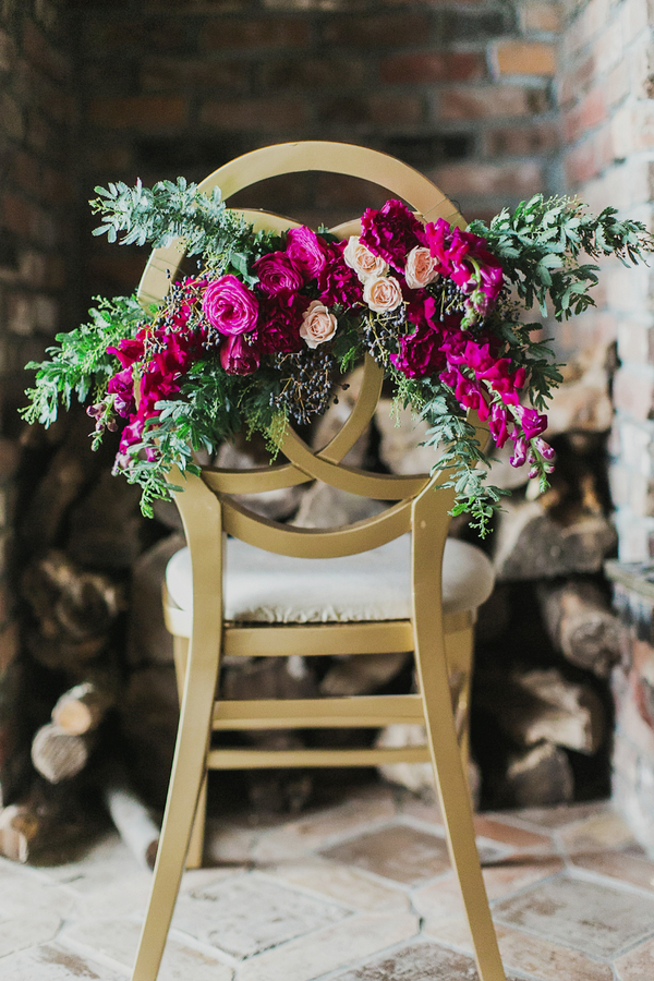 Floral Chair Decor | Milou and Olin Photography | Dark Romance Wedding