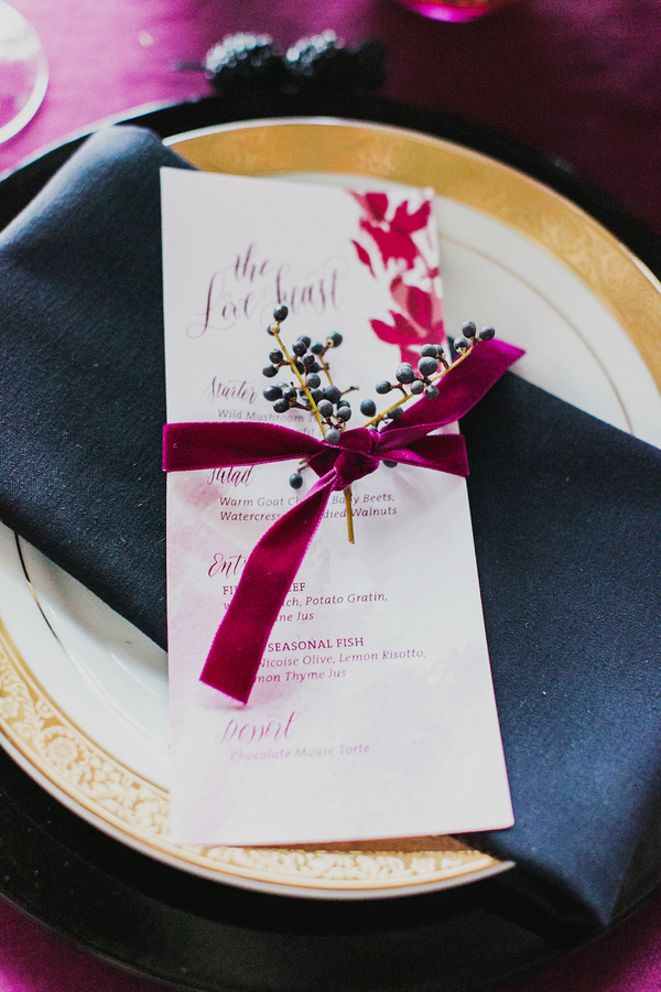 Menu Tied with a Velvet Ribbon | Milou and Olin Photography | Dark Romance Wedding