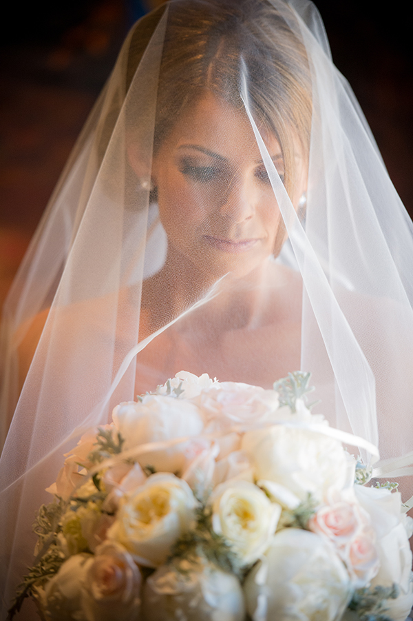 Romantic Veiled Bridal Portrait | Scott Campbell Photography | Rustic Blush Wedding