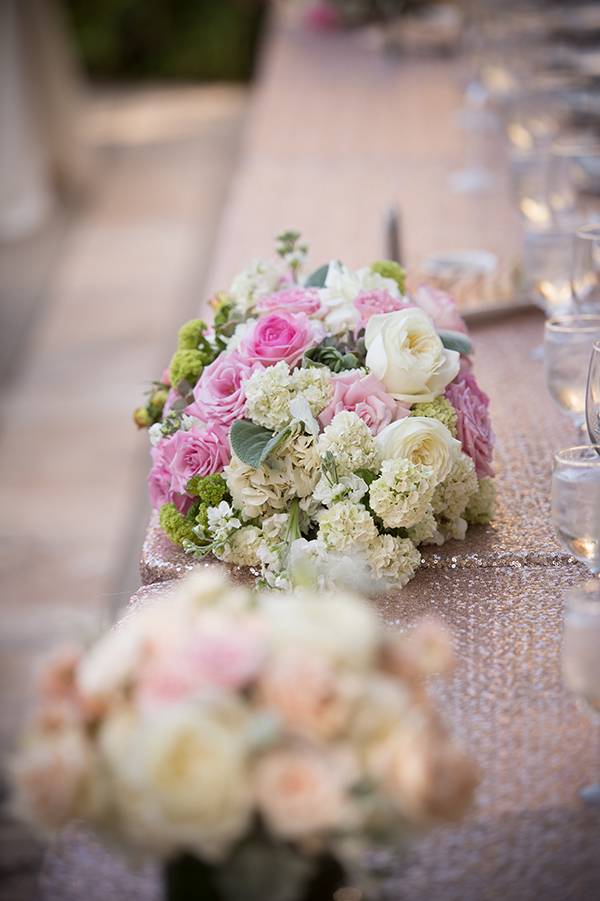 Blush Sequin Head Table with the Bridesmaids Bouquets | Scott Campbell Photography | Rustic Blush Wedding