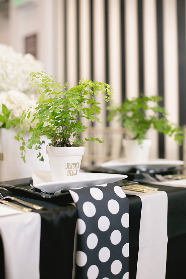 Stripes and Dots for a Kate Spade Inspired Wedding | Britt Rene Photography | http://blog.nvlinens.com/classic-blac