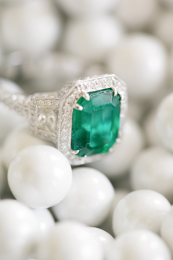 Emerald and Diamond Engagement Ring | Britt Rene Photography | http://blog.nvlinens.com/classic-blac