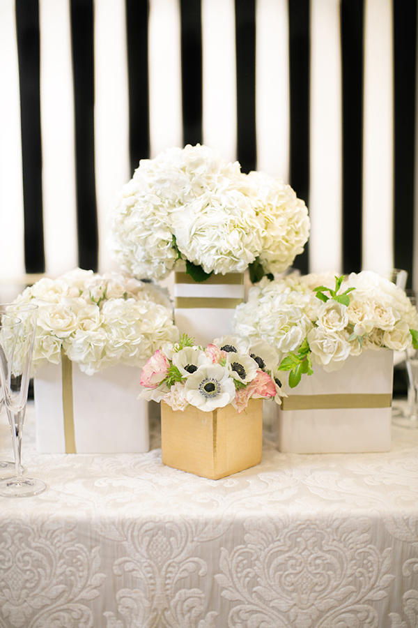 White and Gold Striped Centerpieces | Britt Rene Photography | http://blog.nvlinens.com/classic-blac