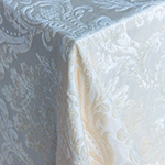 Bellagio Cream Damask Velvet Table Linens