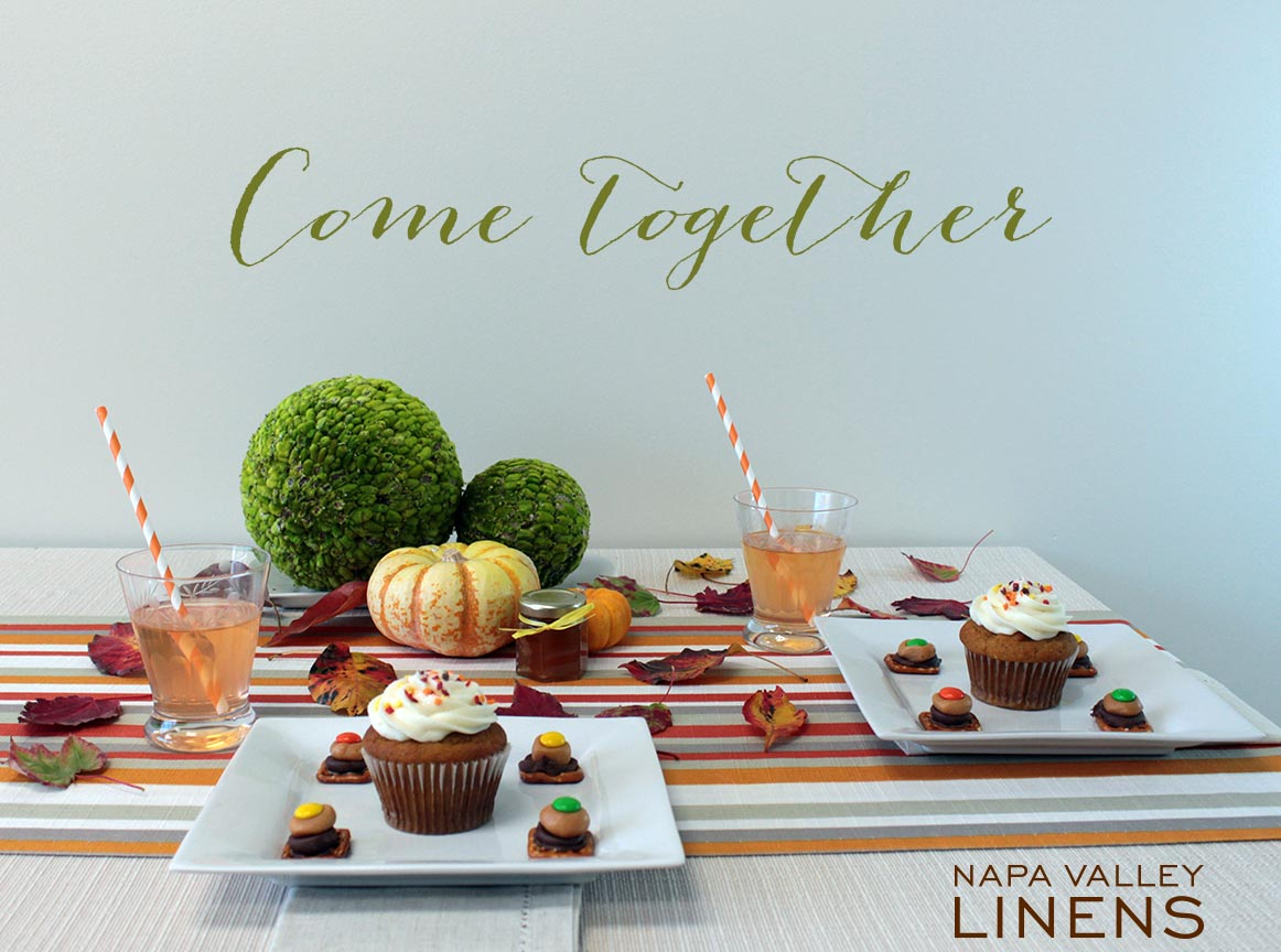 Fun, bright neutral and striped kids Thanksgiving table!